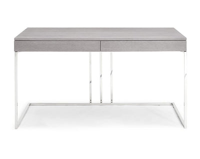 "55"" Modern Gray Desk w/ Stainless Steel Base"
