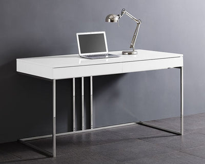 "55"" Modern White Desk w/ Stainless Steel Base"