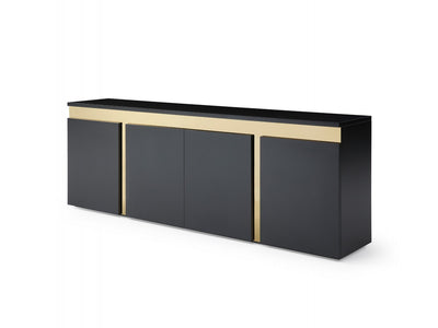 "94"" Black Lacquer Credenza with Polished Gold Steel Accents"