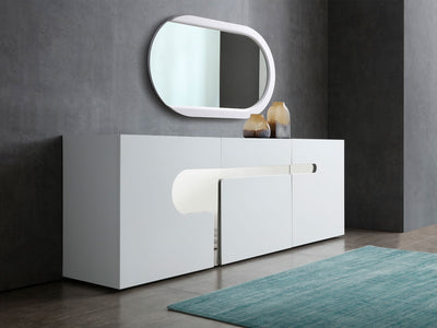 "89"" Modern White Lacquer Storage Credenza with Polished Stainless Accents"