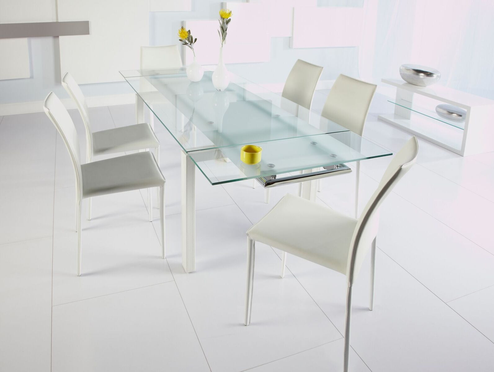 Frosted Glass Desk Or Conference Table With White Frame Extending - Frosted glass conference room table