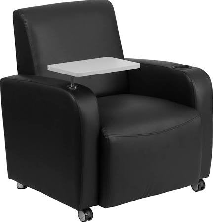 Black Leather Guest Chair with Tablet Table, Front Casters, and Cup Holder