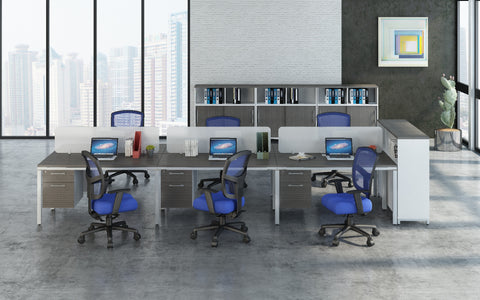 Simple System Modular 6-Desk Unit with Pedestals & Privacy Panels