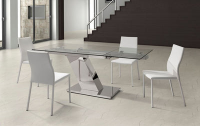 "Ultra Modern Stainless Steel & Glass Desk or Meeting Table (Extends from 55"" W to 79"" W)"