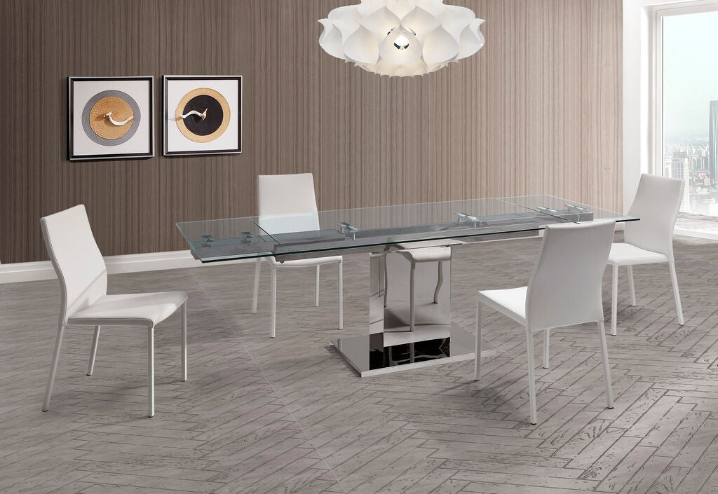 Modern Glass & Stainless Steel Desk or Conference Table (Extends from 55\