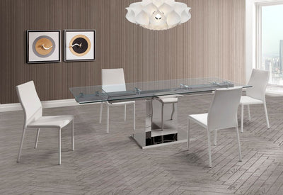 "Modern Glass & Stainless Steel Desk or Conference Table (Extends from 55"" to 83"" W)"