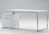 "63"" White High Gloss Modern Executive Desk with Integrated Storage"