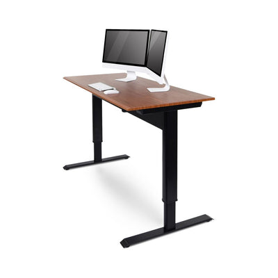 "56"" Wood Veneer Standing Office Desk w/ Pneumatic Lift"