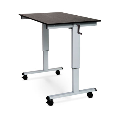 "59"" Sit-Stand Black Oak Office Desk w/ Wheels"