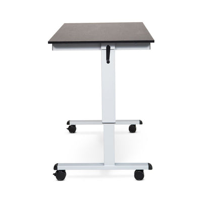 "48"" Sit-Stand Black Oak Office Desk w/ Wheels"
