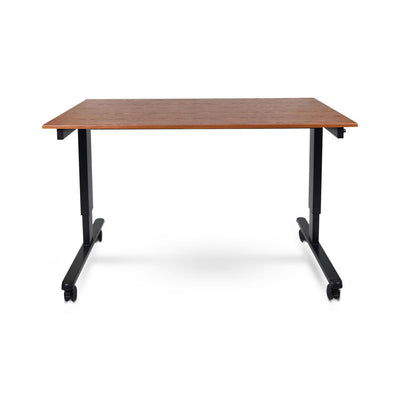 "59"" Sit-Stand Teak Office Desk w/ Wheels"