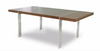 "Modern 83"" Walnut Desk or Conference Table with Polished Stainless Legs"