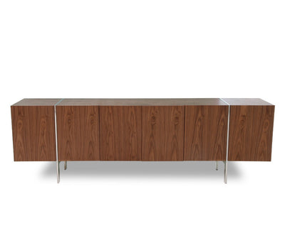 "95"" Walnut Veneer Credenza with Polished Stainless Legs"