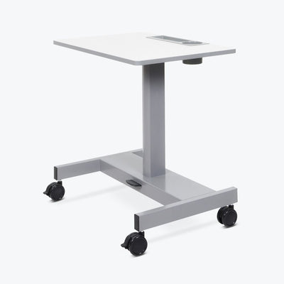 "29"" White Workstation or Office Desk w/ Wheels & Pneumatic Height Adjustment"