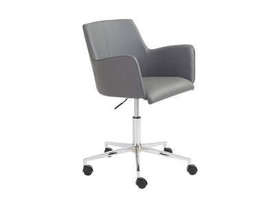 Contemporary Gray Office Chair with Unique Arms & Chrome Base