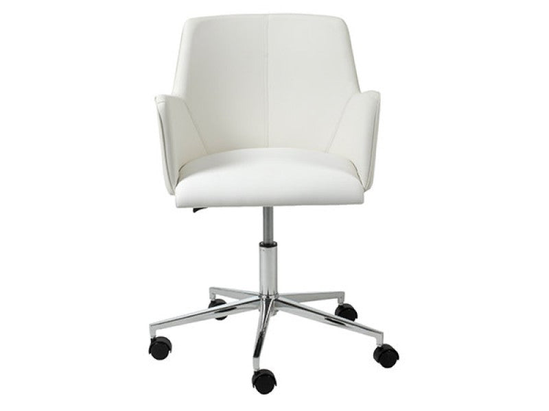 Contemporary White Office Chair with Unique Arms & Chrome Base