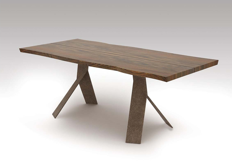 Solid Wood Desk Or Conference Table With Unique Steel Legs - Desk with conference table