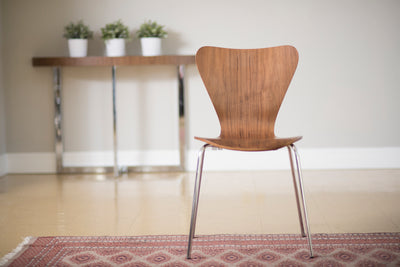 Retro Walnut Guest or Conference Chair w/ Steel Base (Set of 4)