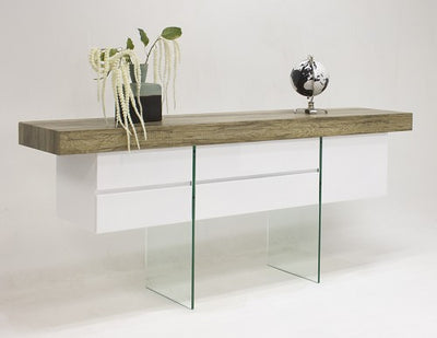 "Modern Rustic Brown Oak & White Lacquer 78"" Desk with Glass Legs"