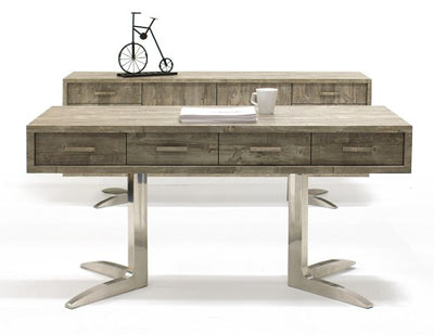 "75"" Rustic Gray Executive Desk with Stainless Steel Legs"