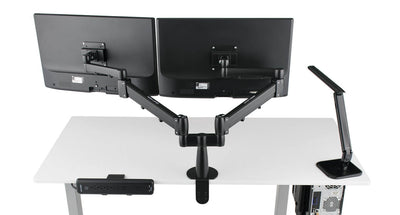 Dual Monitor Arm with Pneumatic Counterbalance System