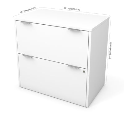 Premium White Lateral File Cabinet with Lock