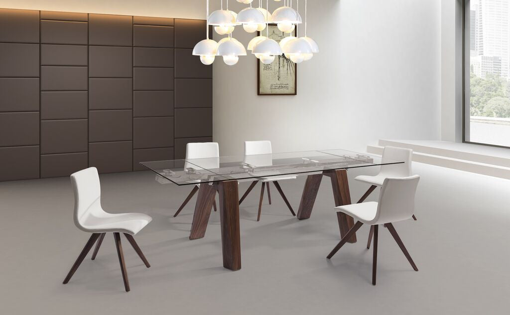 Modern Glass Conference Table or Desk with Thick Walnut Legs (Extends from  63\