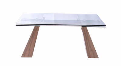 "67"" - 102"" Extending Glass Conference Table with Walnut Legs"