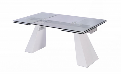 "67"" - 102"" Extending Glass Conference Table with White Lacquer Legs"