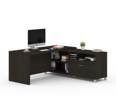 "71"" x 71"" Deep Gray L-shaped Desk with Integrated Storage"
