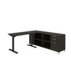 Modern Height Adjustable Sit-Stand Desk with Credenza in Deep Gray