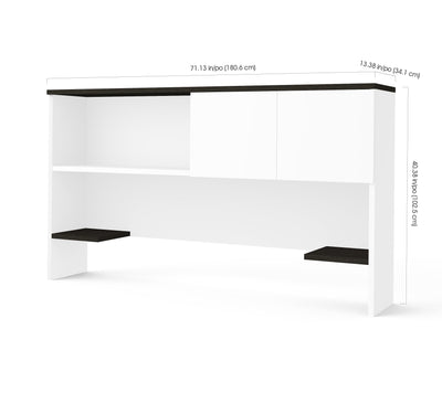 "White & Deep Gray 71"" Desk with Matching Hutch"