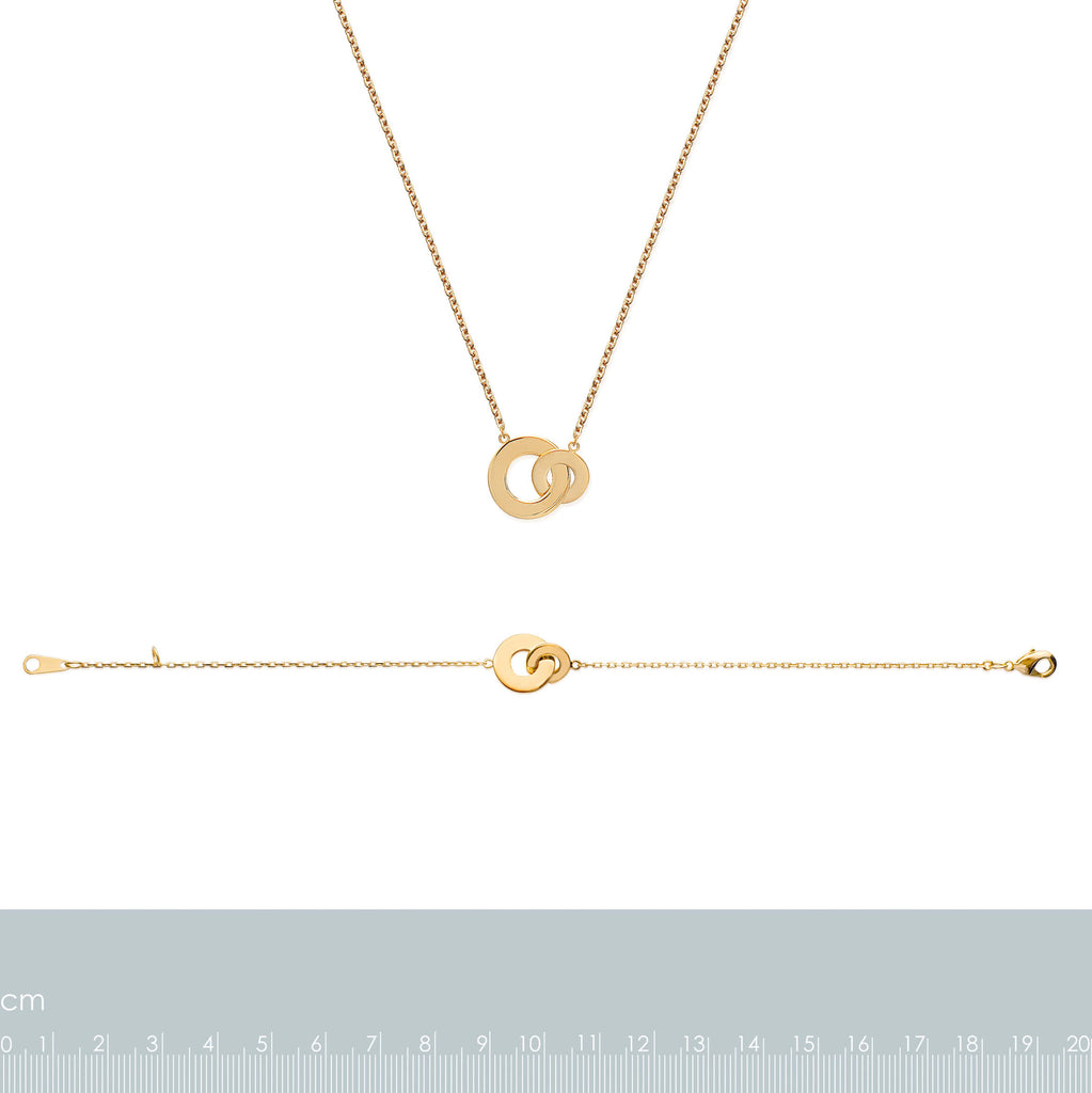 Burren Jewellery 18k gold plate Circle around me necklace measurements