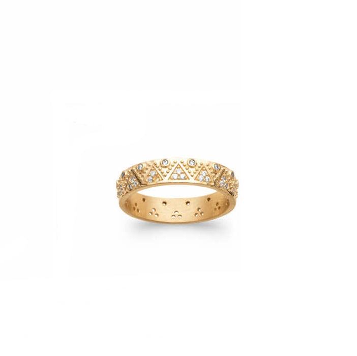 Burren Jewellery 18k gold plate Criss Cross ring front view