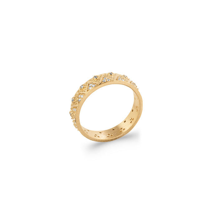 Burren Jewellery 18k gold plate Criss Cross ring