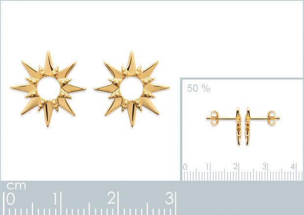 Burren Jewellery 18k gold plate Etoile earrings measurements