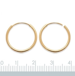 Burren Jewellery 18k gold plate Hoop No1 earrings measurements