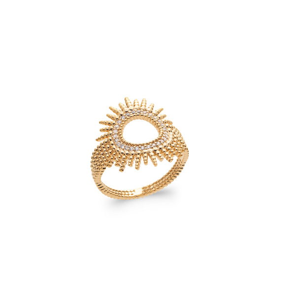 Burren Jewellery 18k gold plate Sun spot ring