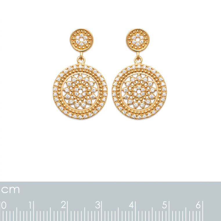 Burren Jewellery 18k gold plate beat of the drums earrings measurements