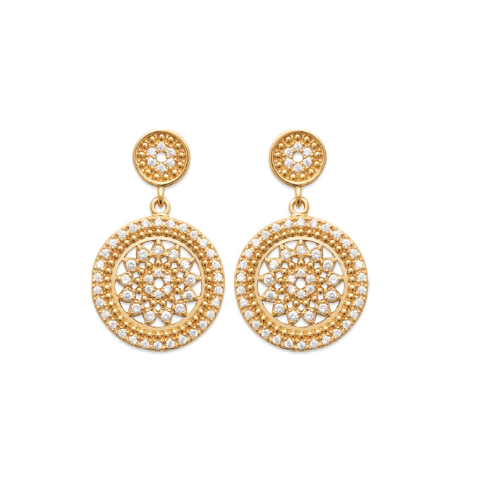 Burren Jewellery 18k gold plate beat of the drums earrings