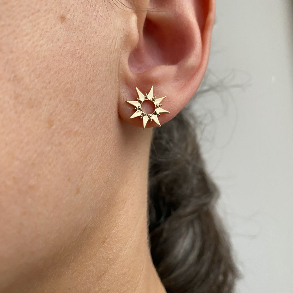 Burren Jewellery 18k gold plate Etoile earrings on ear