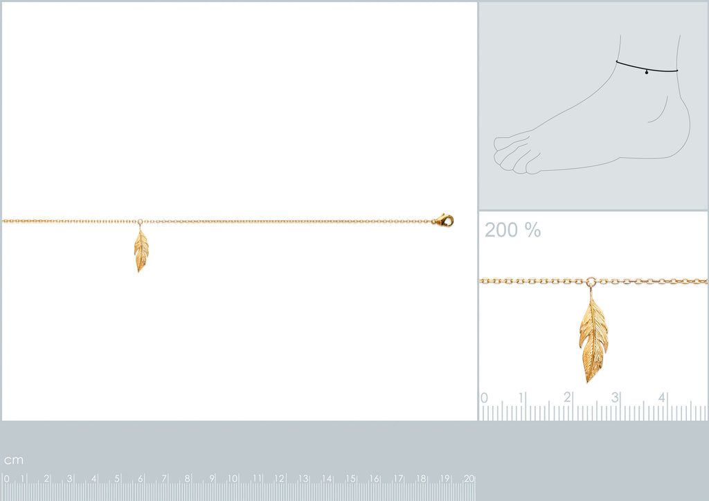 Burren Jewellery 18k gold plate Leaf It Out Anklet measurements