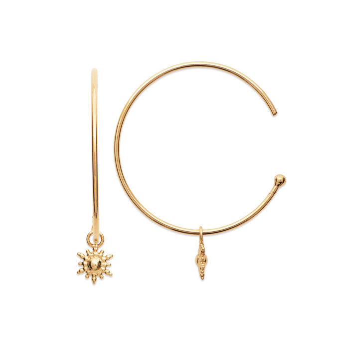 Burren Jewellery 18k gold plate lets stay together hoop earrings