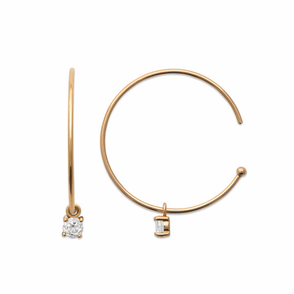 Burren Jewellery 18k gold plate loving U forever hoop earrings side view