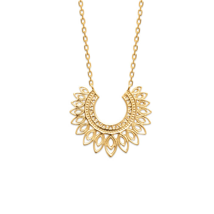 Burren Jewellery 18k gold plate Open Flame Necklace