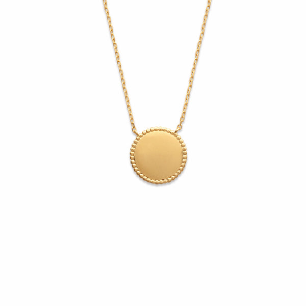 Burren Jewellery Sodade 18K gold plate necklace disc with grain edge