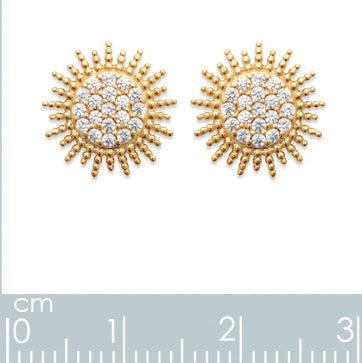 Burren Jewellery 18k gold plate sun burst earrings measurements