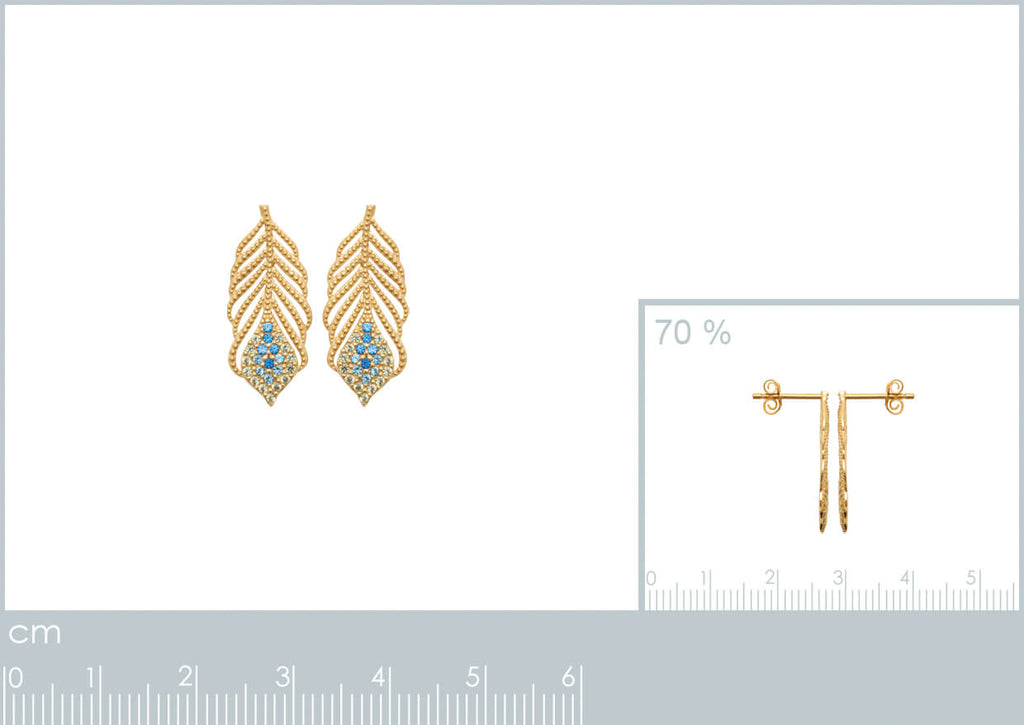 Burren Jewellery 18k gold plate talking italian earrings measurements