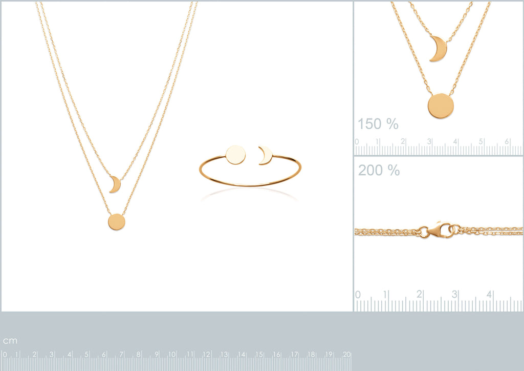 Burren Jewellery 18k gold plate the sun and moon necklace measurements