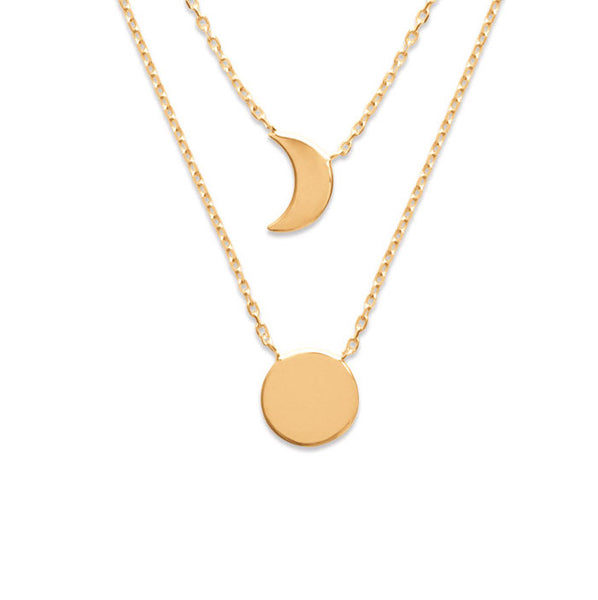 Burren Jewellery 18k gold plate the sun and moon necklace